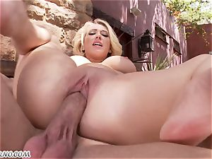 obscene huge-chested blond Kagney Linn Karter gets poked outdoor