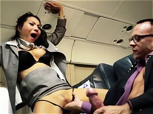 Asa Akira and her hostess friends boink on flight