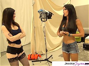 Jessica Jaymes and Kendall Karson deep-throat a huge cock