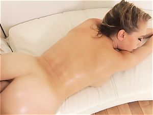 Kagney Linn Karter plumbed in the butt doggy-style by giant lubed up man rod