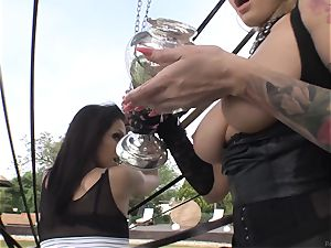 Smoking super-fucking-hot babes Samia Duarte and Kayla Green fuckin' outside